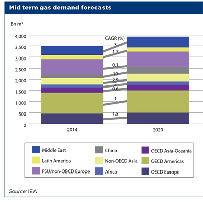 Mid term gas demand forecasts