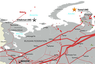 LNG infrastructure in western Russia