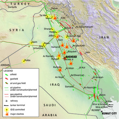 Conflict in Iraq, as of 5th July 2014