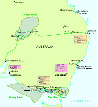 Map 1: Eastern Australia oil infrastructure